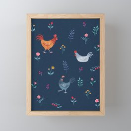 Little Hens (blue) Framed Mini Art Print