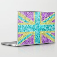 union jack Laptop & iPad Skins featuring Floral Union Jack by Alice Gosling