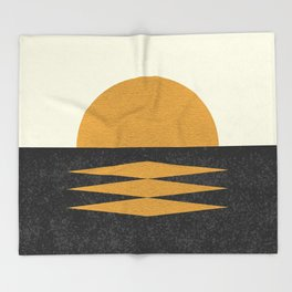 Sunset Geometric Midcentury style Throw Blanket