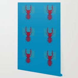 Stitches: Red stag Wallpaper
