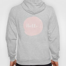 Hello! Black on white Polkadots and pink Typography Hoody