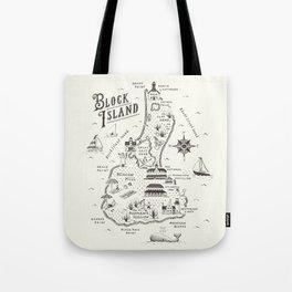 Block Island Map Tote Bag
