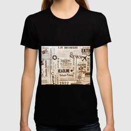 Vintage Newspaper Ads Black and White Typography T-shirt