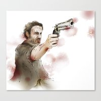 rick grimes Canvas Prints featuring Rick Grimes by Ira Ischwara