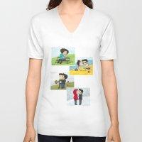 sterek V-neck T-shirts featuring Sterek kisses by agartaart