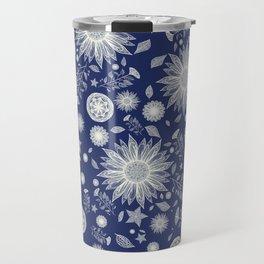 Beautiful Flowers in Navy Vintage Floral Design Travel Mug
