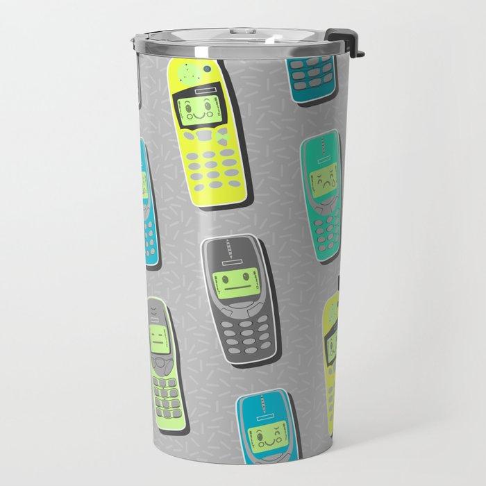Vintage Cellphone Pattern Travel Mug
