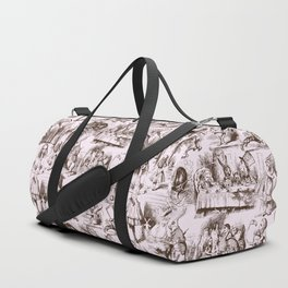 Alice in Wonderland | Toile de Jouy | Brown and Pink Duffle Bag