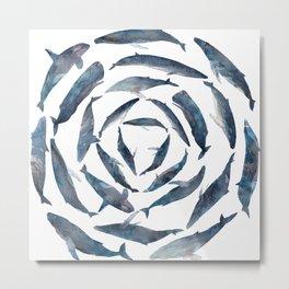 Circle Blue Whales Metal Print