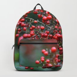 Wild Red Berries in Autumn Digital Photograph Backpack