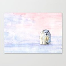 Polar bear in the icy dawn Canvas Print