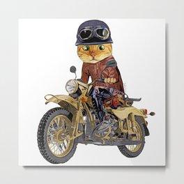 Cat riding motorcycle Metal Print