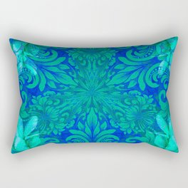 Aqua, Moss Green and Blue Boujee Boho Floral Rectangular Pillow