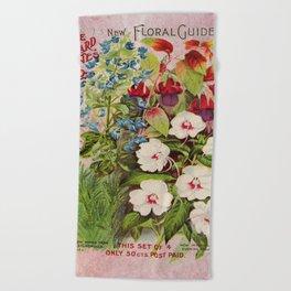 Vintage Flowers Advertisement Collage Beach Towel