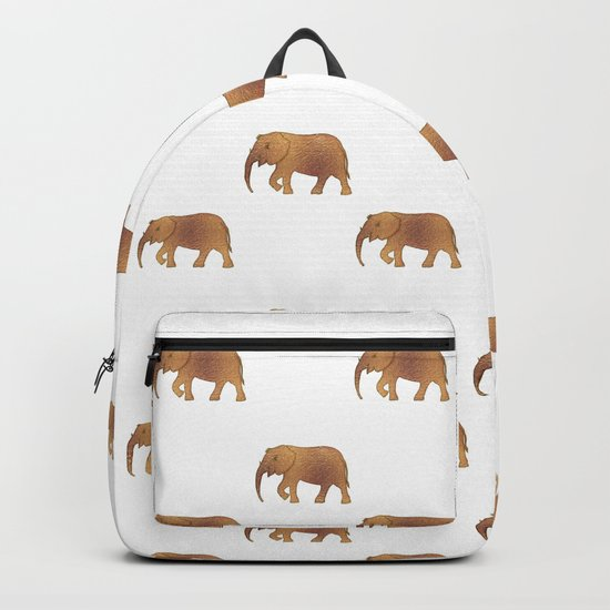 Golden elephants on a white background Backpack