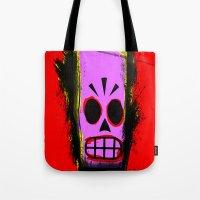 grim fandango Tote Bags featuring Manny Calavera, Red version (Grim Fandango) by acefecoo
