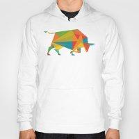 indonesia Hoodies featuring Fractal Geometric Bull by Picomodi