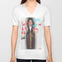 hetalia V-neck T-shirts featuring America, America Don't You Cry by AquaticGalaxy