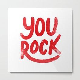 You Rock Vintage Red Metal Print