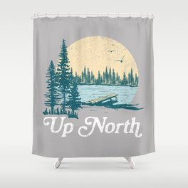 Vintage Retro Up North Lake Shower Curtain