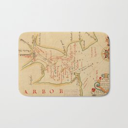 Vintage Map of Boston Harbor (1694) Bath Mat