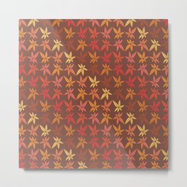 Warm Fall Leaves Pattern Metal Print