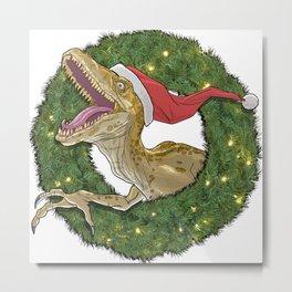 Velociraptor and Christmas Wreathe Metal Print