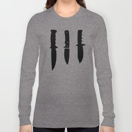Survival Knives Pattern - Black and White Long Sleeve T-shirt