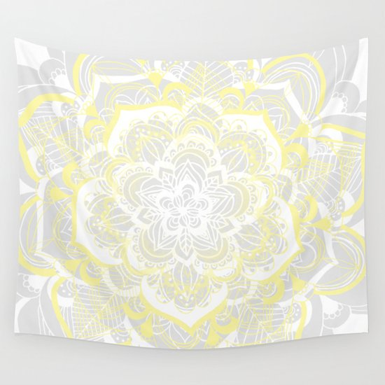 Woven Fantasy - Yellow, Grey & White Mandala by tangerinetane