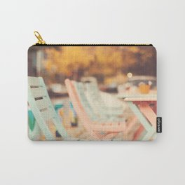 Dream Autumn (Pink and blue coffee shop chairs on retro and vintage fall) Carry-All Pouch