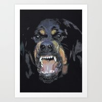 givenchy Art Prints featuring GIVENCHY ROTTWEILER by Hazel By Helin Su