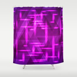 Ultramarine pink intersections on a blue metal background. Shower Curtain