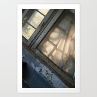 Curtains brown with age. Art Print