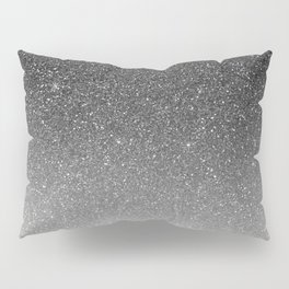 Elegant chic black silver gradient glitter Pillow Sham