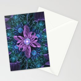 Bejeweled Butterfly Lily of Ultra-Violet Turquoise Stationery Cards