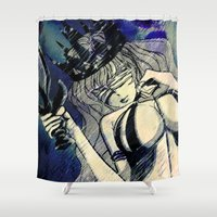 justice Shower Curtains featuring BLIND LADY JUSTICE by Chandelina