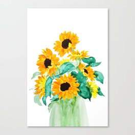 sunflower in green vase watercolor Canvas Print