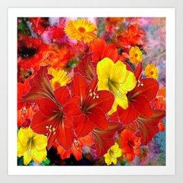 DECORATIVE RED-YELLOW AMARYLLIS BOUQUET Art Print