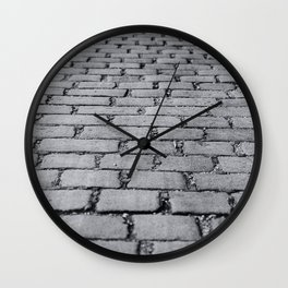 Cobbled Road Black and White Photography Wall Clock