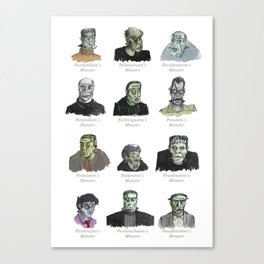 Field Guide to Man-Made Monsters (white) Canvas Print