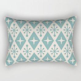 Mid Century Modern Atomic Triangle Pattern 710 Green and Beige Rectangular Pillow