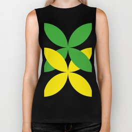 Green Yellow four-leaf clover in a strong deep dark black sky. They are hugging.They love each other Biker Tank