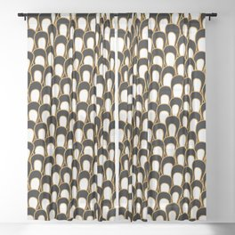Abstract Loops in Gold, Black and White Sheer Curtain