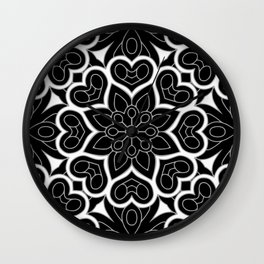 Black and White Flower Hearts Wall Clock