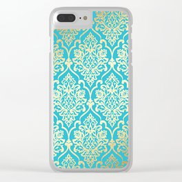 Teal Gold Mermaid Damask Pattern Clear iPhone Case