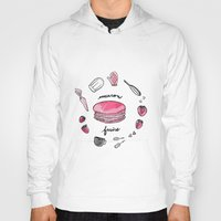 macaron Hoodies featuring Macaron Fraise by Fashion Doodles