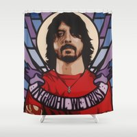 dave grohl Shower Curtains featuring In Grohl We Trust by Cut the Mustard and The Broken Circus