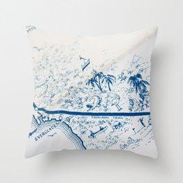 Vintage Florida Map Throw Pillow