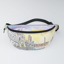 Romantic Piazza Navona in Rome Italy Fanny Pack