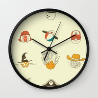 weird Wall Clocks featuring Weird balls with weird hats by AGRIMONY // Aaron Thong